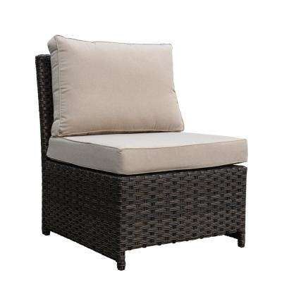 Rooftop Brown Wicker Outdoor Lounge Chair with Oatmeal Cushions