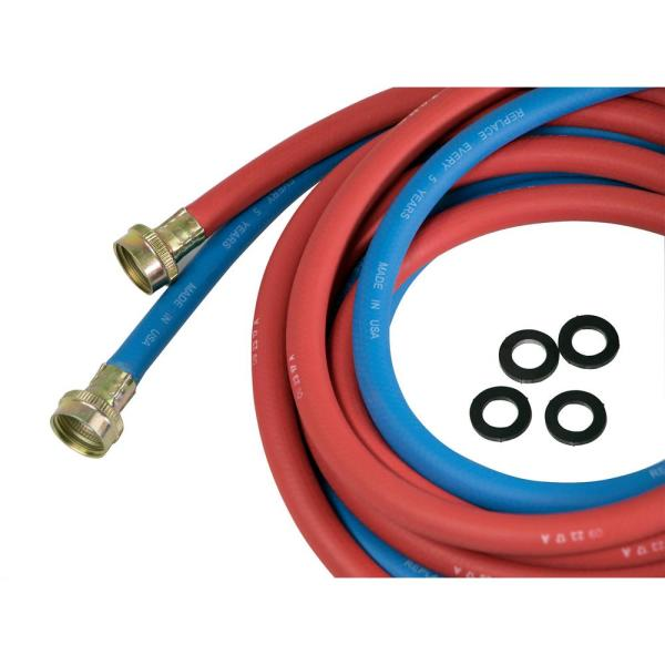 3/4 in. x 3/4 in. x 12 ft. Rubber Washing Machine Hose, EPDM Rubber Tube and Cover ( Pack of 2, 1 Red 1 Blue)