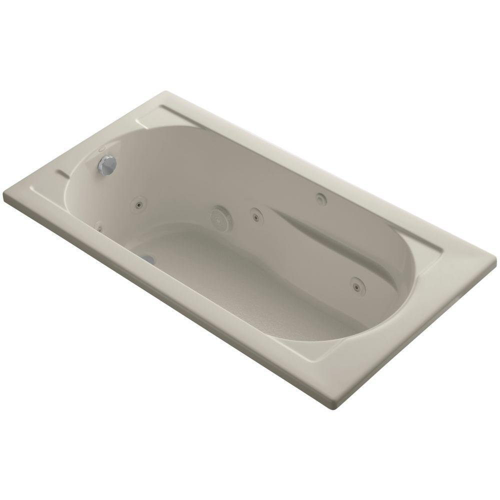 Devonshire 5 ft. Acrylic Oval Drop-in Whirlpool Bathtub in Sandbar