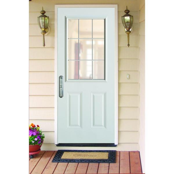 Stanley Doors - 36 in. x 80 in. Colonial 9 Lite 2-Panel Prefinished White Steel Prehung Front Door with Internal Grille and Brickmold