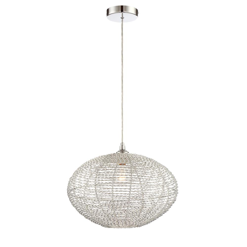 filament design 1 light chrome pendant with aluminum wired