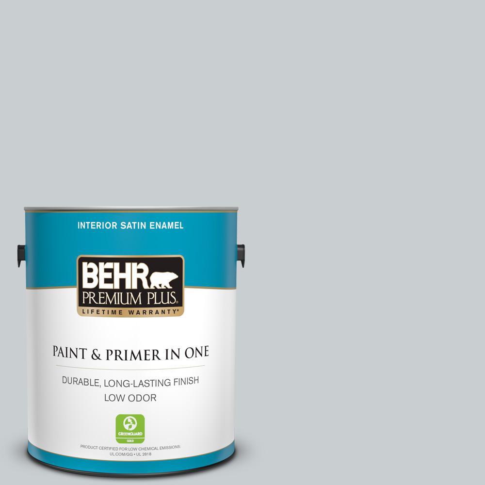1 gal. #760E-2 Manhattan Mist Satin Enamel Low Odor Interior Paint and Primer in One