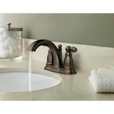 Brantford 4 in. Centerset 2-Handle Low-Arc Bathroom Faucet in Oil Rubbed Bronze with Metal Drain Assembly