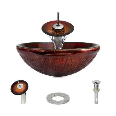 Glass Vessel Sink in Fiery Red with Waterfall Faucet and Pop-Up Drain in Chrome