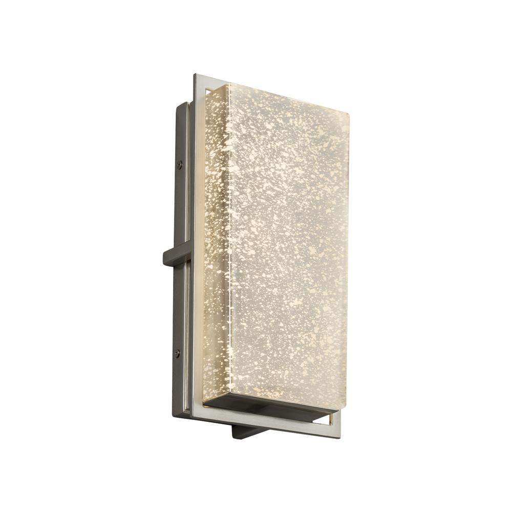 Justice Design Fusion Avalon Small Brushed Nickel LED Outdoor Wall Sconce with Mercury Glass Shade