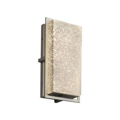Fusion Avalon Small Brushed Nickel LED Outdoor Wall Sconce with Mercury Glass Shade