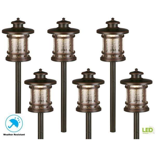Low-Voltage 3-Watt Oil Rubbed Bronze Outdoor Integrated LED Landscape Path Lights with Crackled Shade (6-pack)