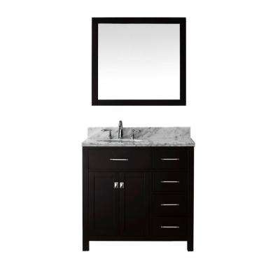 Caroline Parkway 36 in. W Bath Vanity in Espresso with Marble Vanity Top in White with Round Basin and Mirror