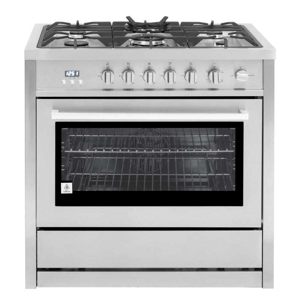 36 In. 3.8 Cu. Ft. Single Oven Gas Range With 5 Burner Cooktop And Heavy Duty Cast Iron Grates In Stainless Steel by Cosmo