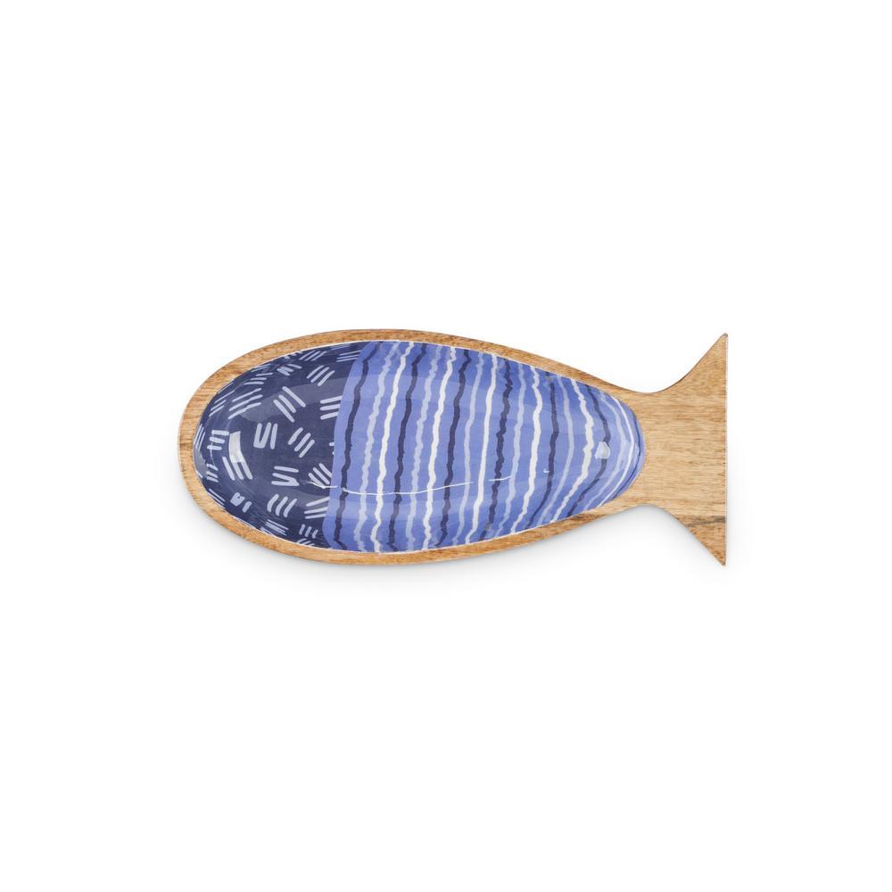Blue Jumbo Patterned Mango Wood Fish Serving Bowl