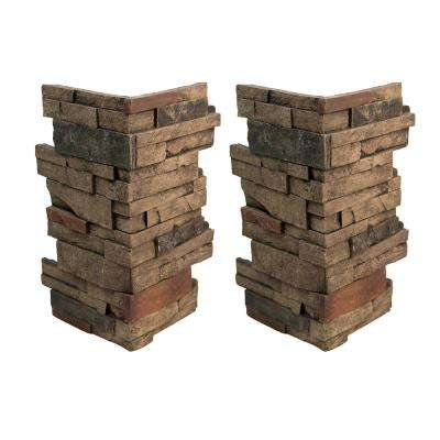 Ledgestone 11 in. x 11 in. x 24 in. Faux Stone Keyed Corner in Mocha (2-Pack)