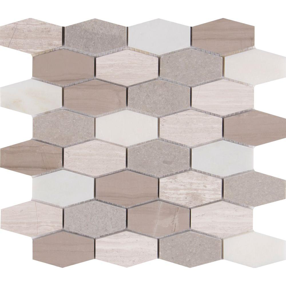 Bellagio blend elongated hexagon 12 in x 12 in x 10 mm honed bellagio blend elongated hexagon 12 in x 12 in x 10 mm honed marble mesh mounted mosaic tile belblnd hexel the home depot dailygadgetfo Image collections