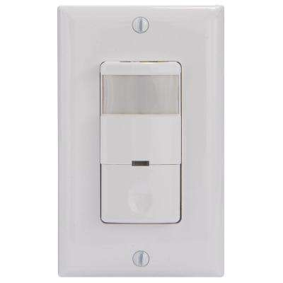 IOS Series 800-Watt Self-Adaptive In-Wall PIR Sensor Switch Decorator 180-Degree Coverage Pattern, White