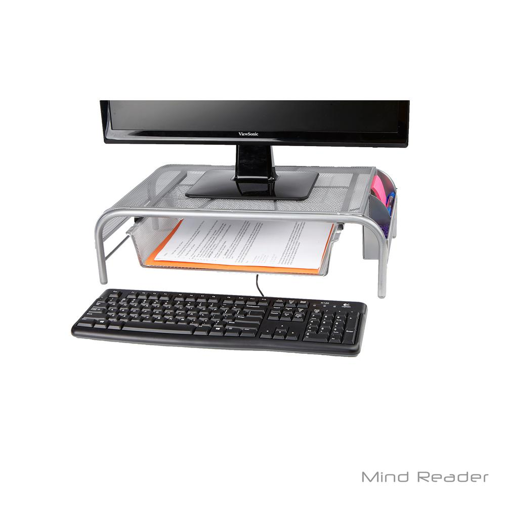 Mind Reader Metal Mesh Monitor Stand With Drawer Silver