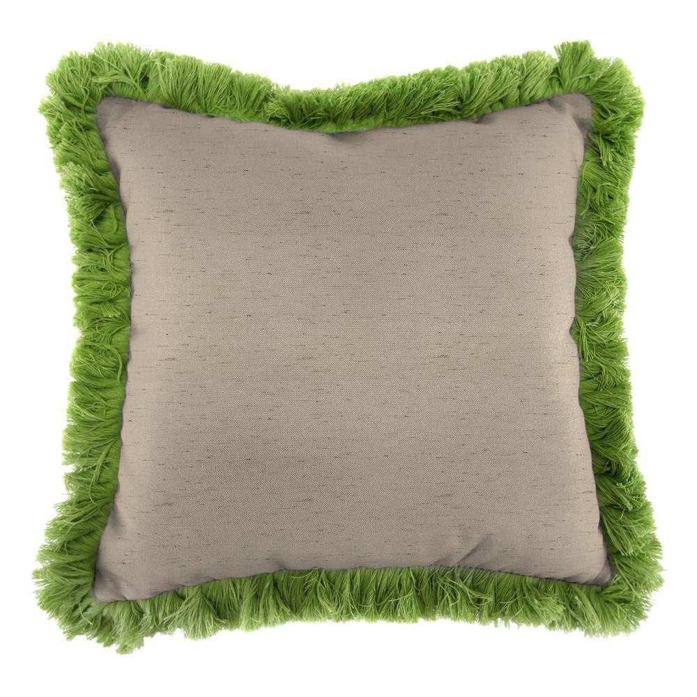Jordan Manufacturing Sunbrella Frequency Sand Square Outdoor Throw Pillow with Gingko Fringe