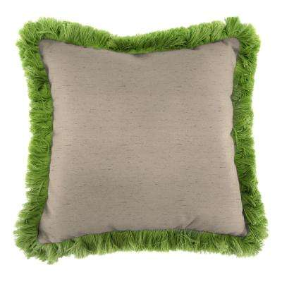 Sunbrella Frequency Sand Square Outdoor Throw Pillow with Gingko Fringe