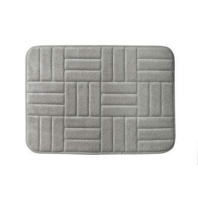 Parqeut 17 in. x 24 in. Bath Rug in Pewter