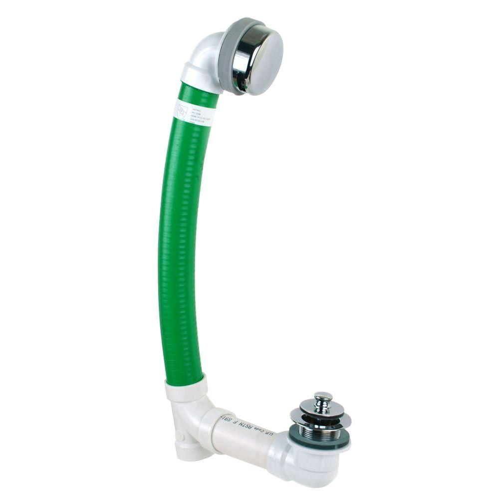 Watco Innovator Flex924 Flexible Bath Waste With Push Pull Bathtub Stopper  And Innovator Overflow In Chrome