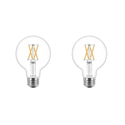 60-Watt Equivalent G25 Dimmable LED Indoor/Outdoor Light Bulb Clear with Warm Glow Effect Soft White (2700K) (2-Pack)