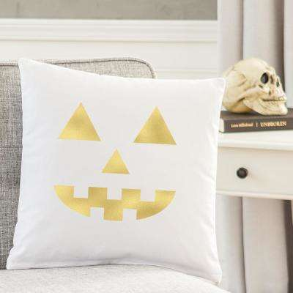 Gold Jack O Lantern 16 in. L x 16 in. W Halloween Throw Pillow