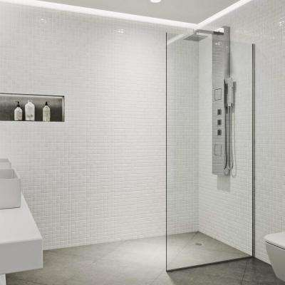 Zenith 34 in. x 74 in. Frameless Fixed Shower Screen in Chrome without Handle