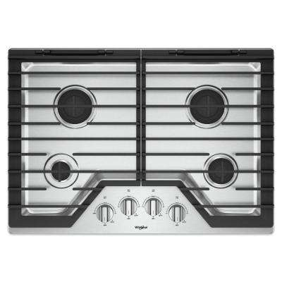 30 in. Gas Cooktop in Stainless Steel with 4 Burners and EZ-2-LIFT Hinged Cast-Iron Grates