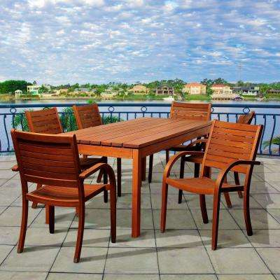 Carey 7-Piece Eucalyptus Rectangular Patio Dining Set