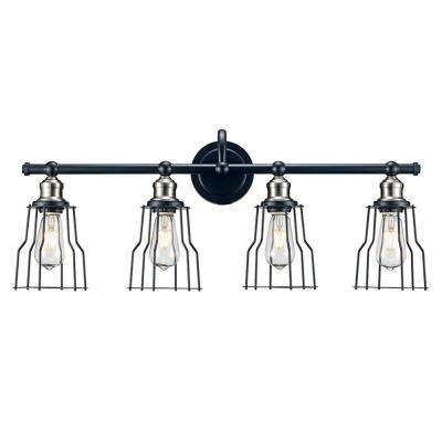 31 in. 4-Light Black with Brushed Nickel Vanity Light with Metal Frame Shades