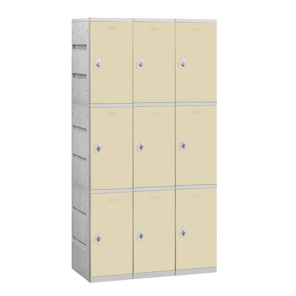 Salsbury Industries 93000 Series 38.25 in. W x 74 in. H x 18 in. D 3-Tier Plastic Lockers Assembled in Tan