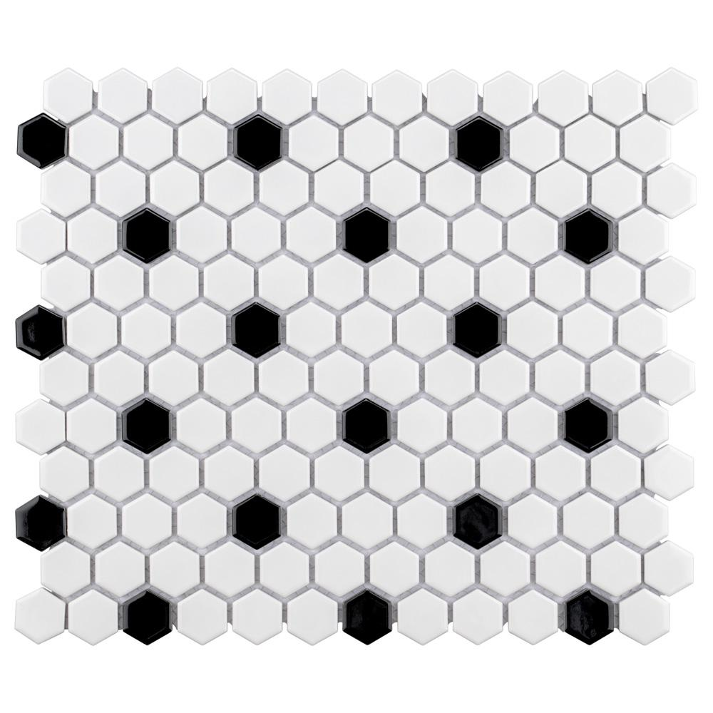 Merola Tile Metro Hex Glossy White With Black Dot 10 1 4 In