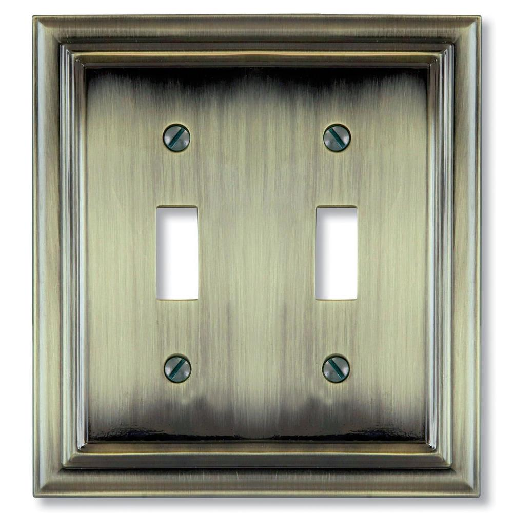 Continental 2 Toggle Wall Plate - Brushed Brass