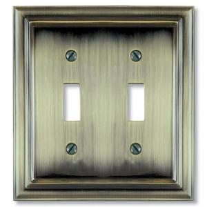 continental 2 toggle wall plate brushed brass