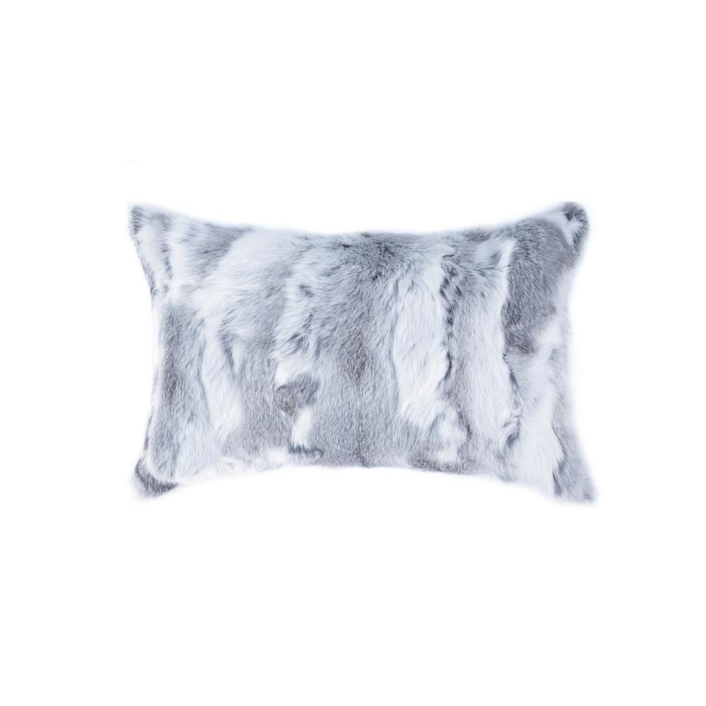 natural Rabbit Fur 12 in. x 20 in. Grey Pillow
