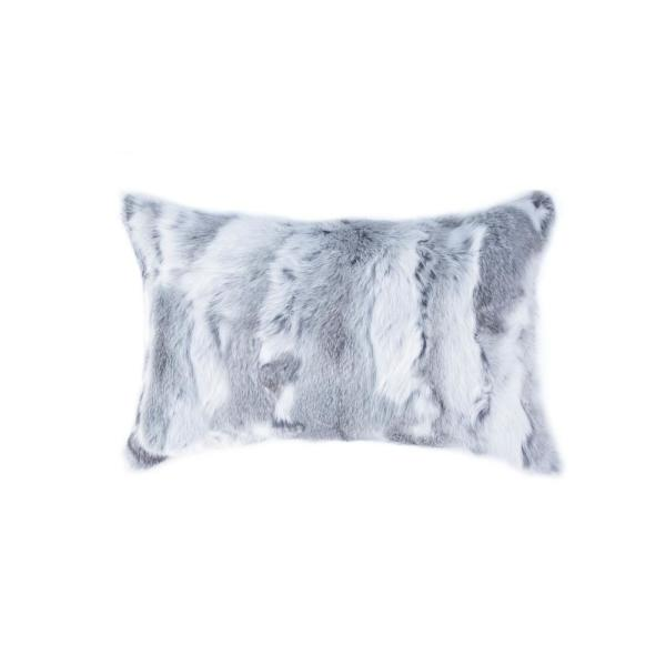 natural Rabbit Fur 12 in. x 20 in. Grey Pillow 676685047106