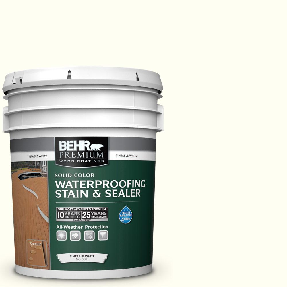 BEHR Premium 5 gal. #SC-337 Pinto White Solid Waterproofing Exterior Wood Stain and Sealer