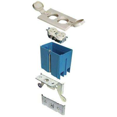 1-Gang 21 cu. in. Adjustable Floor Box - Ivory