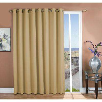 Ultimate Blackout 112 in. W x 84 in. L Polyester Blackout Patio Panel in Putty