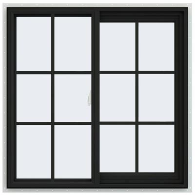 36 in. x 36 in. V-2500 Series Bronze FiniShield Vinyl Right-Handed Sliding Window with Colonial Grids/Grilles