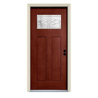 36 in. x 80 in. Black Cherry Left-Hand 1-Lite Craftsman Carillon Stained Fiberglass Prehung Front Door with Brickmould