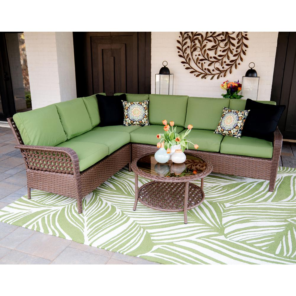 Leisure Made Bessemer 5-Piece Wicker Outdoor Sectional Set with Green Cushions