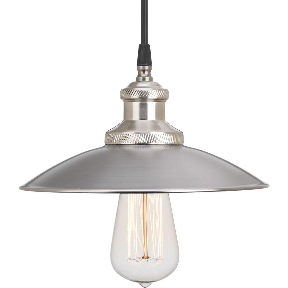 Archives Collection 1-Light Antique Nickel Pendant with Metal Shade