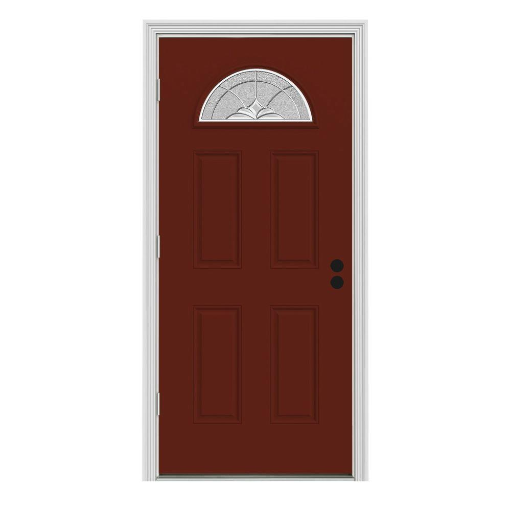 JELD-WEN 32 in. x 80 in. Fan Lite Langford Mesa Red w/ White Interior Steel Prehung Right-Hand Outswing Front Door w/Brickmould