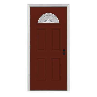 36 in. x 80 in. Fan Lite Langford Mesa Red w/ White Interior Steel Prehung Right-Hand Outswing Front Door w/Brickmould