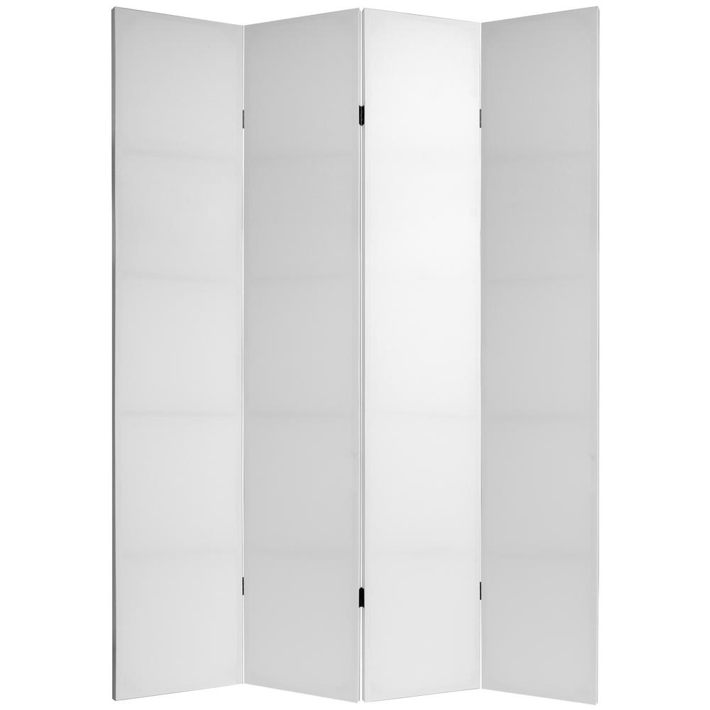 Oriental 7 ft. White Do It Yourself Canvas 4-Panel Room Divider
