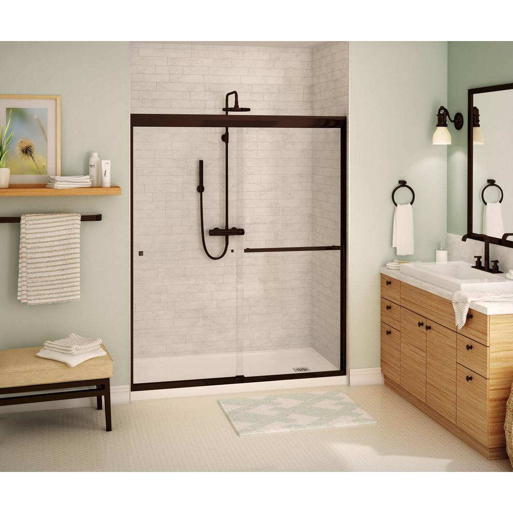 Aura SC 59 in. x 71 in. Semi-Frameless Sliding Shower Door in Dark Bronze