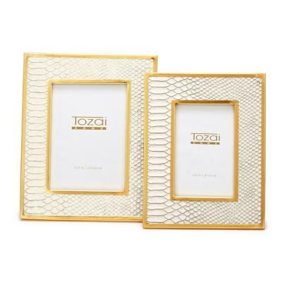 Gold Edge Includes: 4 in. x 6 in. and 5 in. x 7 in. White Faux Leather Python Patterned Picture Frames (Set of 2)