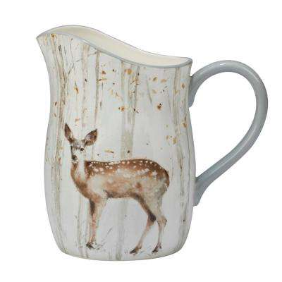 A Woodland Walk 96 oz. Grey and Sepia Pitcher