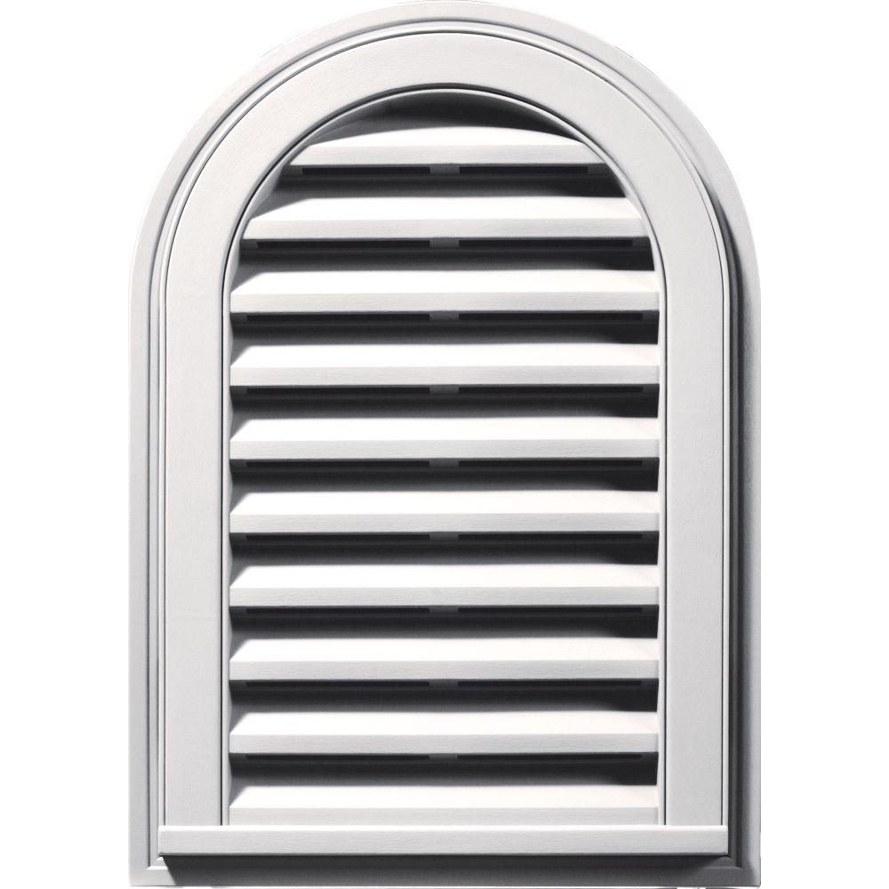 14 in. x 22 in. Round Top Gable Vent in Bright