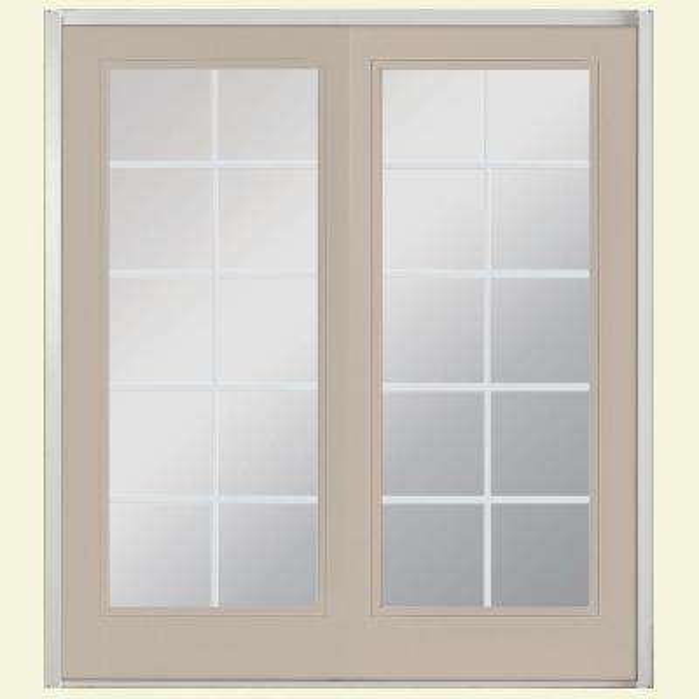 72 in. x 80 in. Canyon View Prehung Left-Hand Inswing 10 Lite Fiberglass Patio Door with No Brickmold