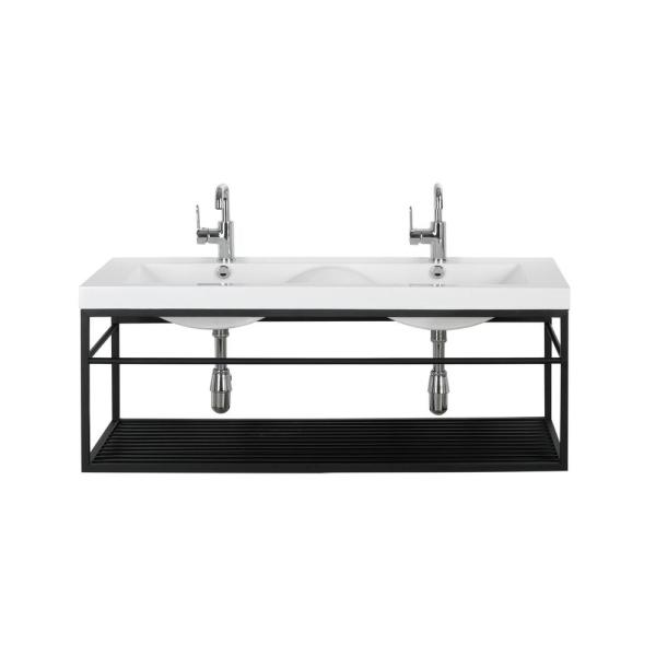 48 in. W x 18.5 in. D Bathroom Vanity in Black with Solid Surface Vanity Top in White with White Basin